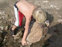 Isaac moves a rock as big as he is - Lower Nolichucky, TN