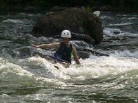 Jess surfs bare-handed - Lower Nolichucky, TN