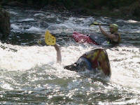 Jess rolls with handpaddles - Lower Nolichucky, TN