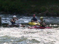 Jess, Matt, and Brandon sit in the eddy - Lower Nolichucky, TN