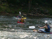 Matt rolls as Brandon and Jess watch - Lower Nolichucky, TN