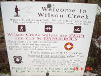 The warning: Wilson waters are swift and dangerous...